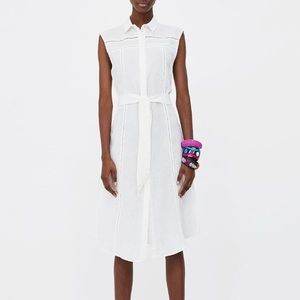 Zara Sleeveless Linen Dress with Lace Inserts